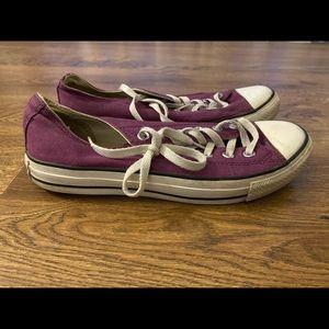 Purple low top converse